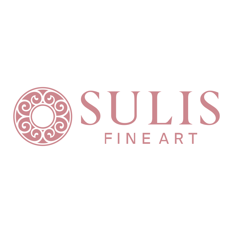 20th Century Gouache - Thin Vase with Purple Flowers